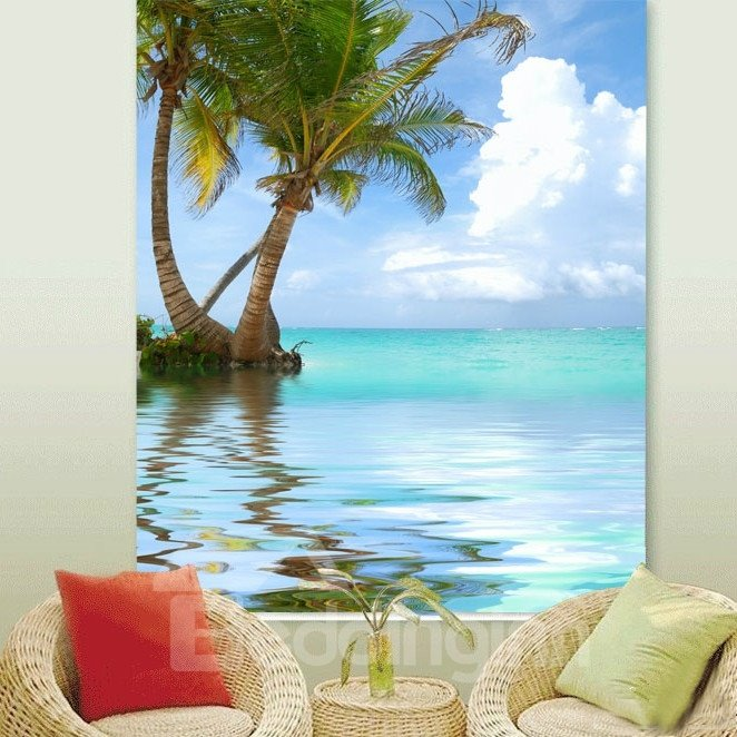 Couple Coconut Tree in the Water Printing 3D Roller Shades