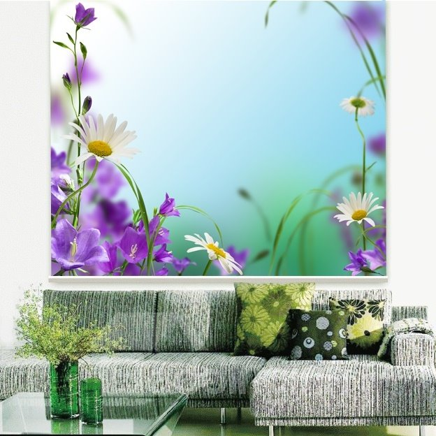 Purple Flower and White Daisy Printing 3D Roller Shades