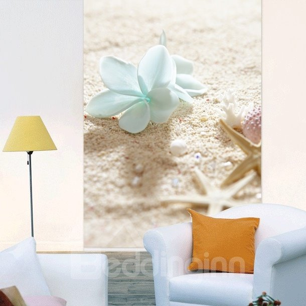 Blue Flower and Starfish in the Beach Printing 3D Roller Shades