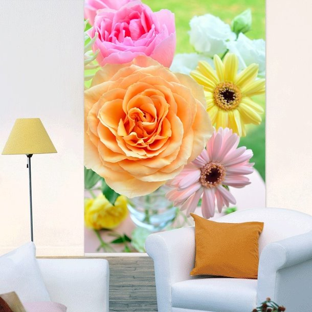 Colored Daisy and Rose Printing 3D Roller Shades