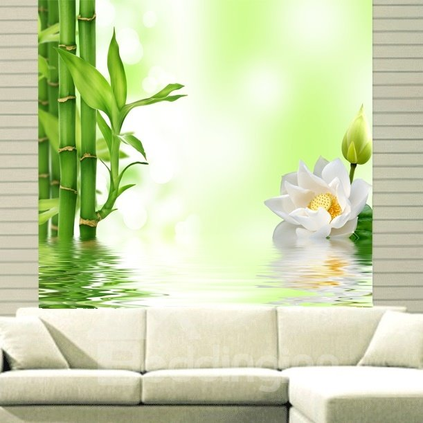 White Flowers and Green Bamboo in the Water Printing 3D Roller Shades 12449182