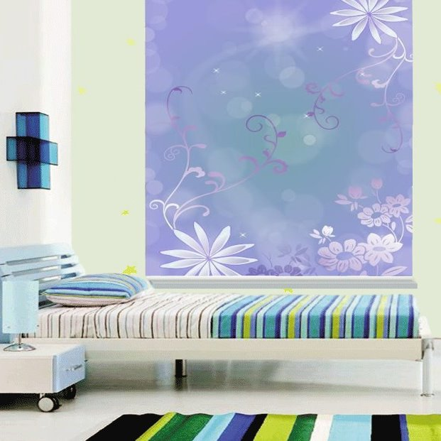 Concise White Flowers Printing Purple 3D Roller Shades