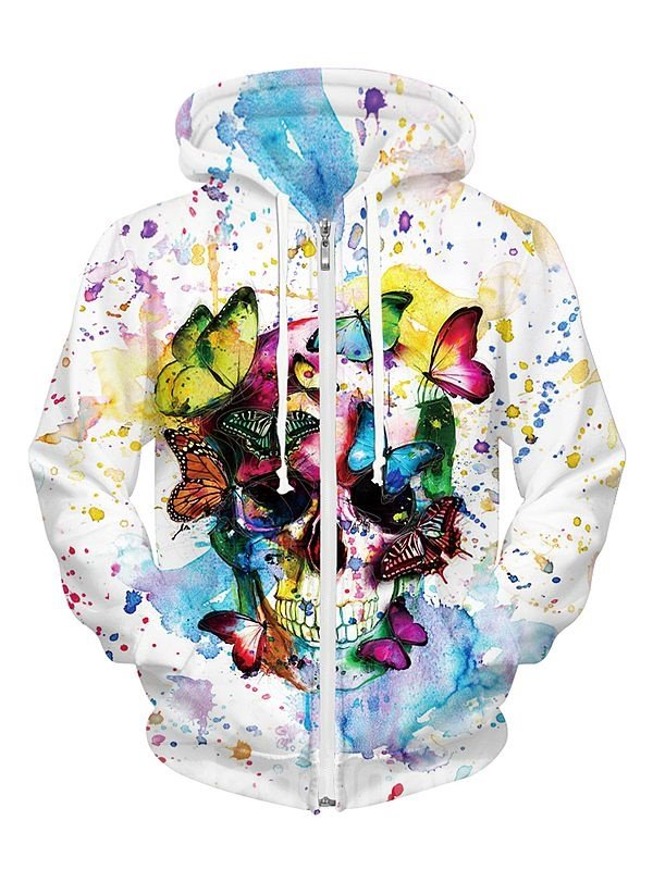 Long Sleeve Skull with Butterfly Pattern Pocket 3D Painted Hoodie