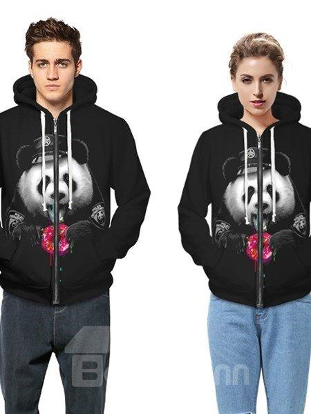 Long Sleeve Panda Pattern Black Pocket 3D Painted Hoodie