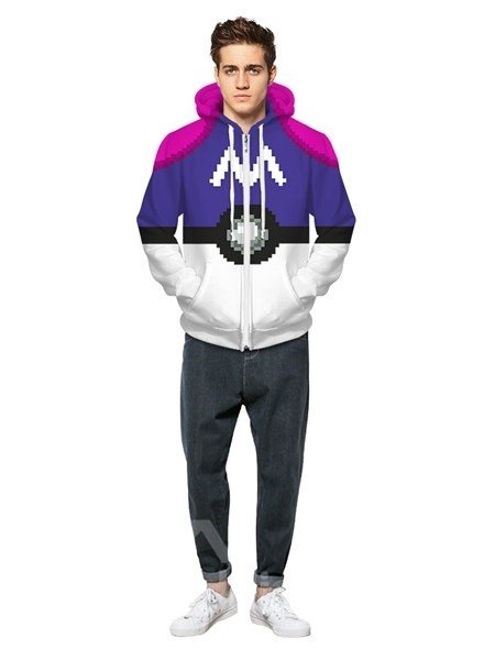 Long Sleeve Purple Poke Ball Pattern Pocket 3D Painted Hoodie