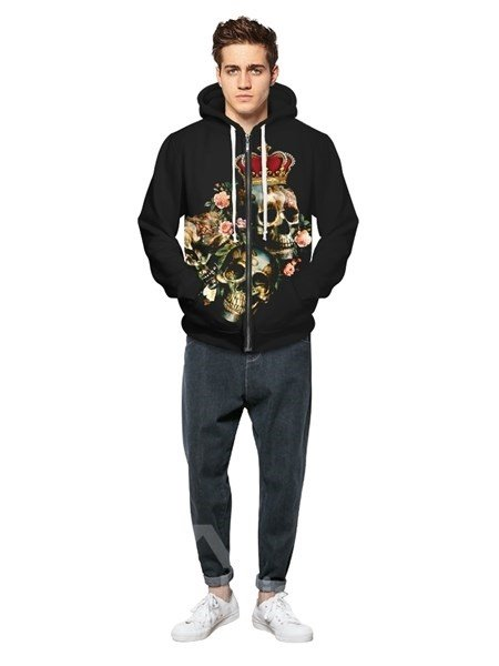 Halloween Style Long Sleeve Skull Wear Crown Pattern Pocket 3D Painted Hoodie