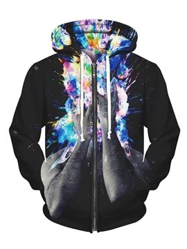 Long Sleeve Hands Pattern Pocket 3D Painted Hoodie