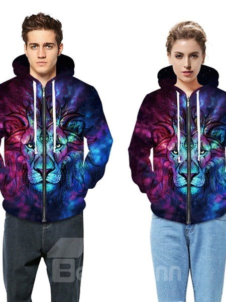 Long Sleeve Multicolor Lion Face Pattern 3D Painted Hoodie