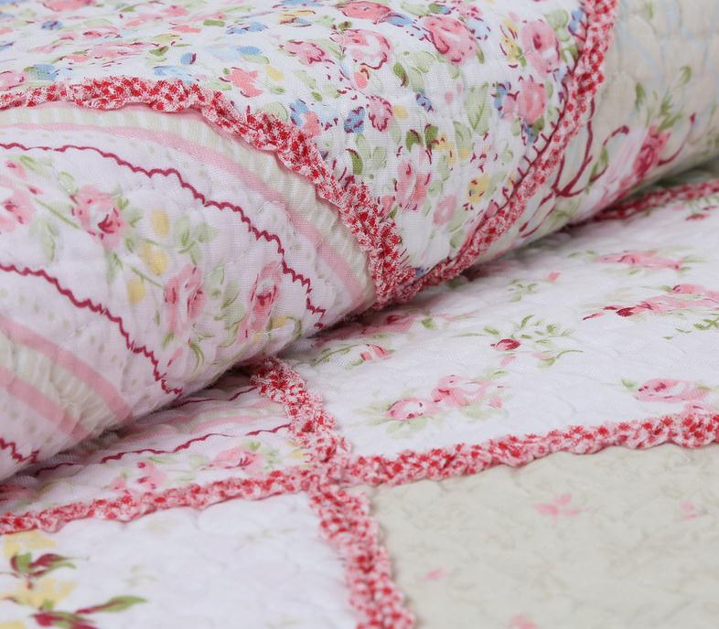 Pink Floral Patchwork Cotton 3-Piece Bed in a Bag