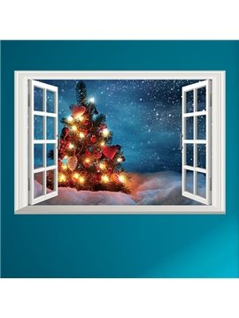 Creative Rectangle Beautiful Tree with Light Window Scenery Christmas Decoration Wall Stickers