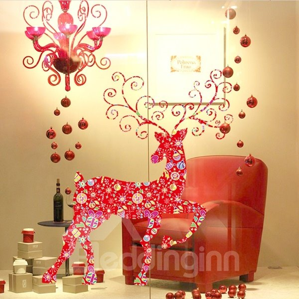 Amazing Red Deer Pattern Home Decorative Wall Stickers