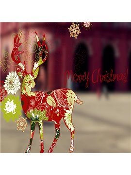 Colorful Merry Christmas Deer Pattern Decorative Wall Stickers