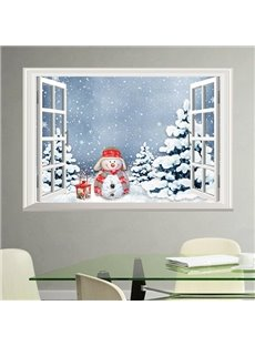 Unique Simple Style Snowman Tree Covered By Snow Window Scenery Wall Sticker