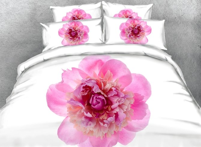 Magnificent 3D Pink Peony Print 4-Piece Duvet Cover Sets