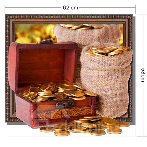 Joyful Many Golden Coin in Box and Bag Pattern Home Decorative 3D Wall Sticker