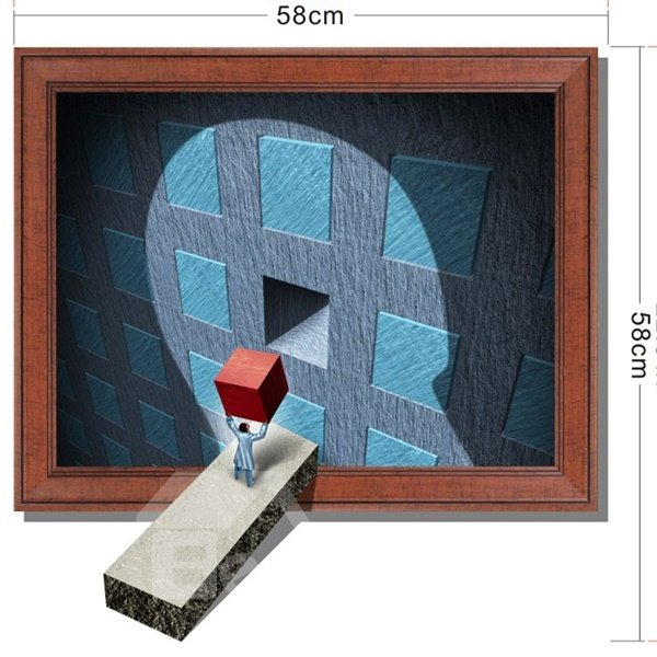 Vivid Design Person Holding a Square Item Pattern 3D Wall Sticker