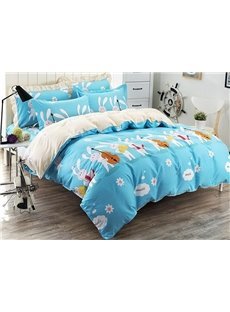 Musical Instrument Rabbit Pattern Kids Cotton 4-Piece Duvet Cover Sets