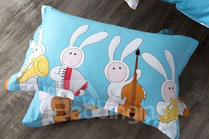 Musical Instrument Rabbit Pattern Kids Cotton 4-Piece Duvet Cover Sets