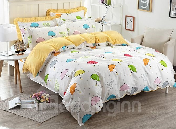 Multicolor Umbrella Pattern Kids Cotton 4-Piece Duvet Cover Sets