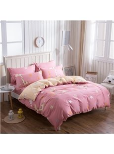 Running Fawn Pattern Pink Kids Cotton 4-Piece Duvet Cover Sets