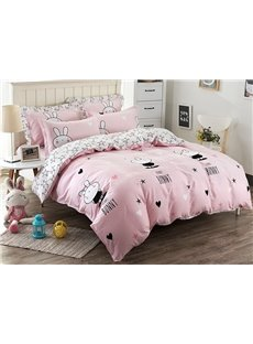 Cute Rabbit Pattern Kids Cotton 4-Piece Duvet Cover Sets