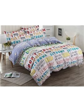 Modern Capital Letters Pattern Kids Cotton 4-Piece Duvet Cover Sets