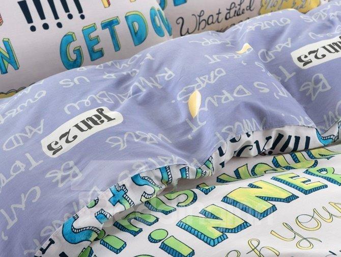 Modern Capital Letters Pattern Kids Cotton 4-Piece Duvet Cover Sets