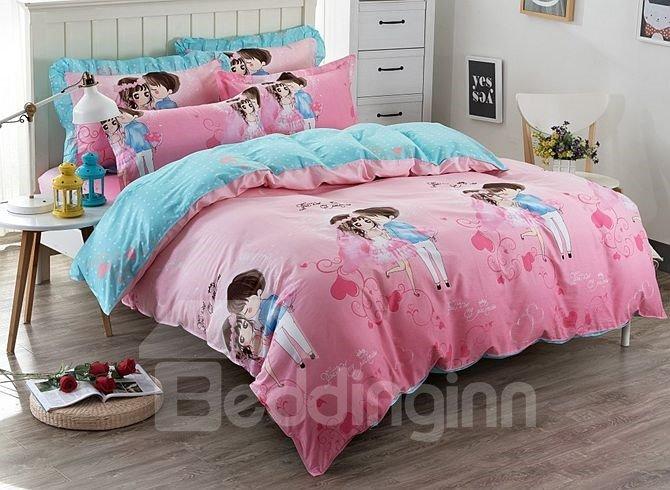 Sweet Couples Pattern Kids Cotton 4-Piece Duvet Cover Sets