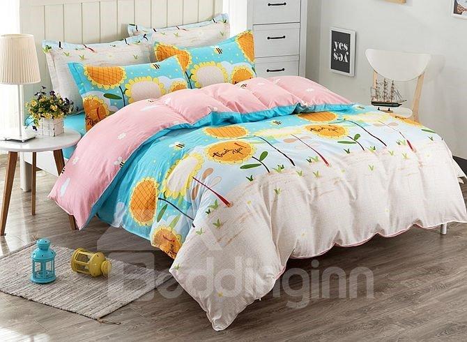 Bright Sunflower Pattern Kids Cotton 4-Piece Duvet Cover Sets