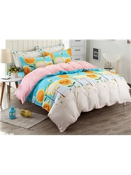 Bright Sunflower Pattern Kids Cotton 4-Piece Duvet Cover Sets
