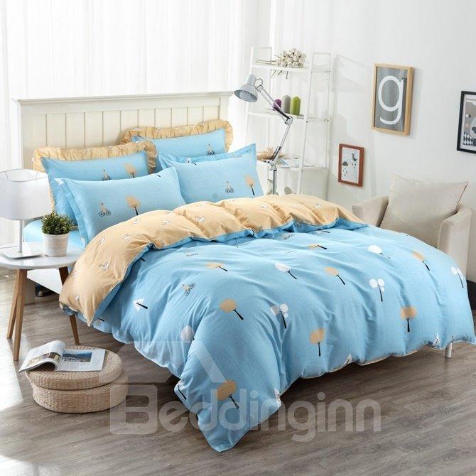 Trees Pattern Light Blue Kids Cotton 4-Piece Duvet Cover Sets