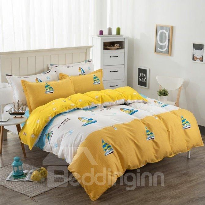 Sailing Ship Pattern Yellow Kids Cotton 4-Piece Duvet Cover Sets