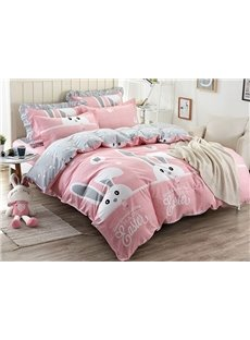 Rabbit Pattern Pink Kids Cotton 4-Piece Duvet Cover Sets