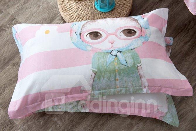 Lovely Cartoon Cat Pattern Kids Cotton 4-Piece Duvet Cover Sets