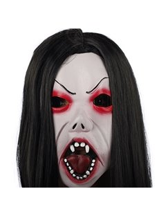 Horrible Black Hair Vampire Design Halloween Mask