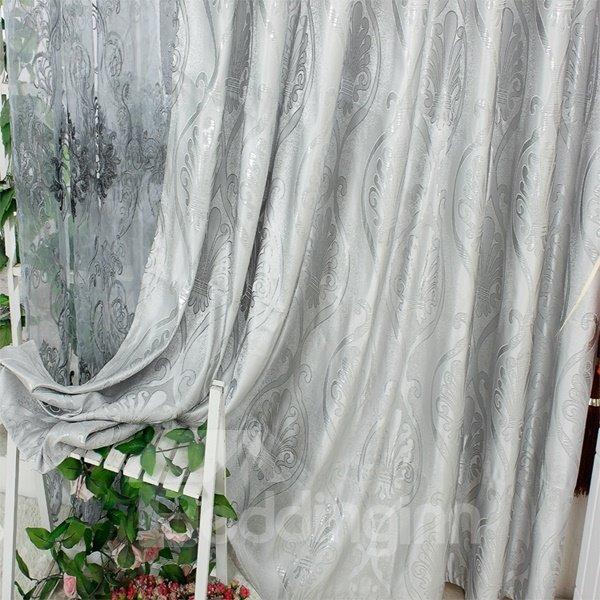Modern European Concise Silvery Jacquard Grommet Top Curtain