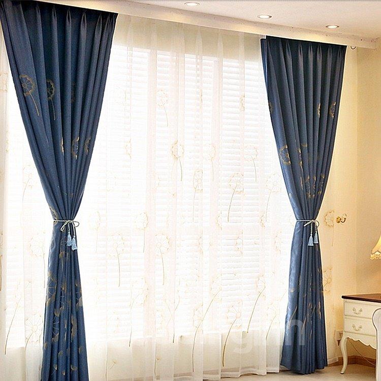 Dandelion Printing Blue Cotton Blackout Grommet Top Curtain