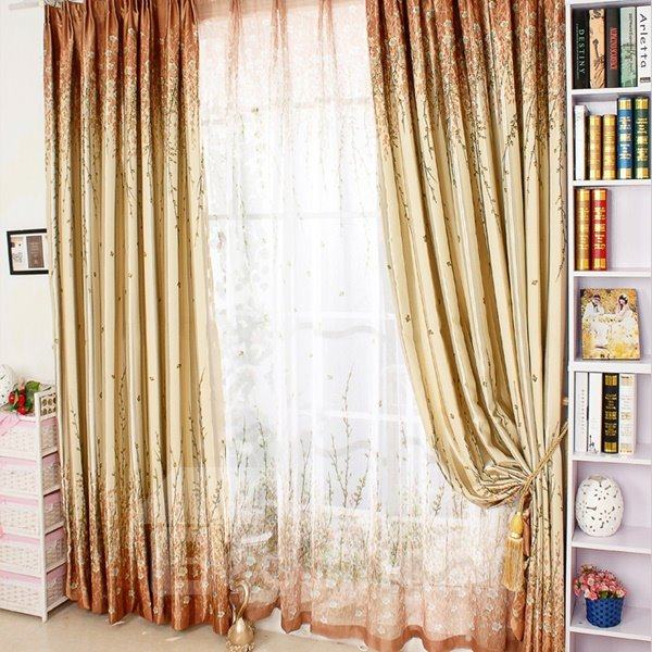 Country Style Tree Printing Yellow Thicken Blackout Grommet Top Curtain