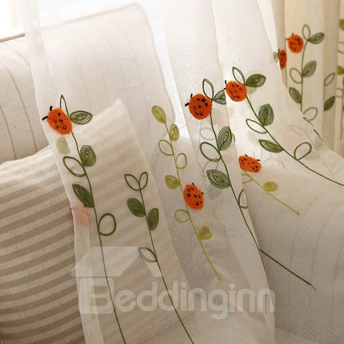 Super Cute Jacquard Ladybugs and Flowers Custom Sheer Curtain