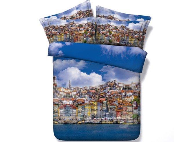 Prosperous Town Print 4-Piece Duvet Cover Sets