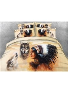 Wolf And American Indian Chief Print 4-Piece Duvet Cover Sets