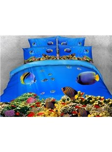 Fantastic 3D Fish Aquarium Print 4-Piece Duvet Cover Sets