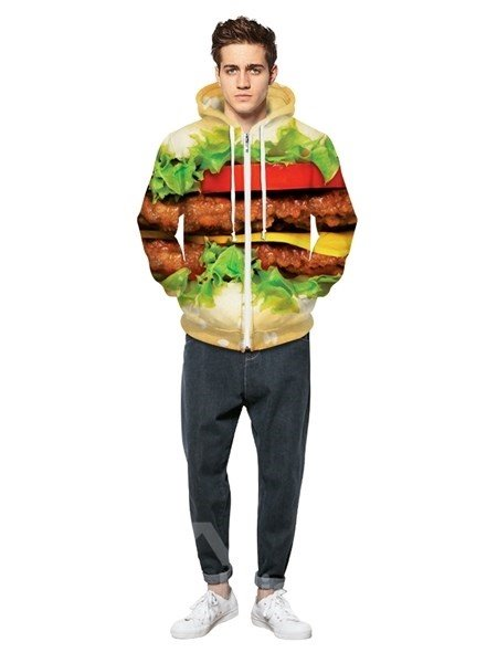 Elegant Long Sleeve Hamburger Pattern Pocket 3D Painted Hoodie