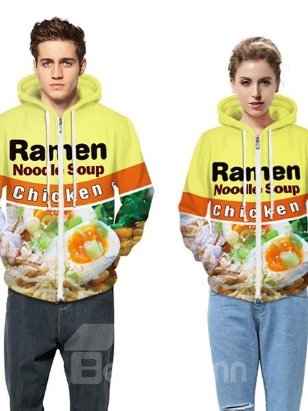 Long Sleeve Noodle Soup Pattern Pocket 3D Painted Hoodie