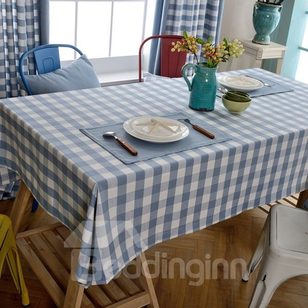 Rectangle Fabric Blue Check Pattern Dining Room Decoration  : 124531191 from www.beddinginn.com size 600 x 600 jpeg 68kB