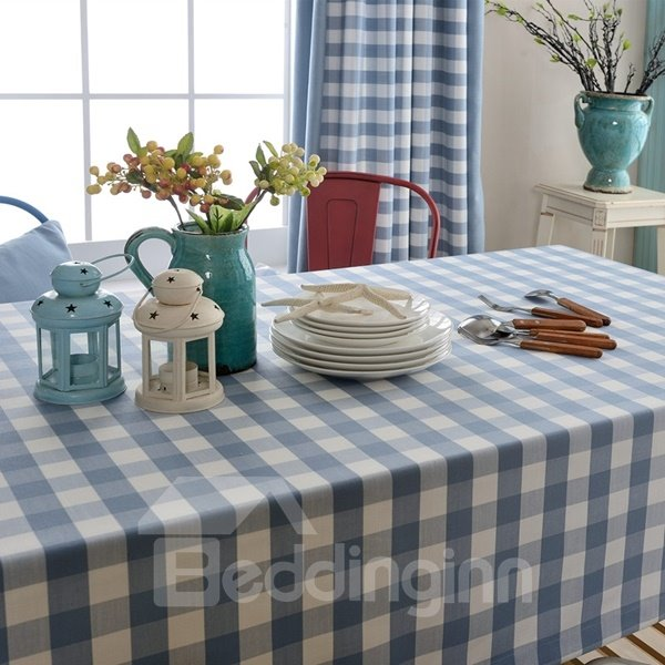 Rectangle Fabric Blue Check Pattern Dining Room Decoration Tablecloth