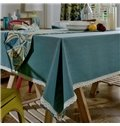 Simple Style Pure Blue with White Lace Kitchen Decoration Tablecloth