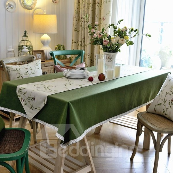 Atrovirens Washable Fabric Pure Color Home Decoration Tablecloth