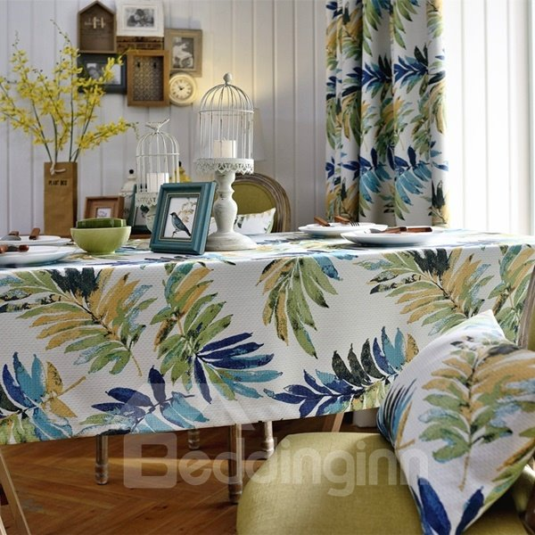 Green Rectangle Fabric Selva Plants Pattern Washable Tablecloth