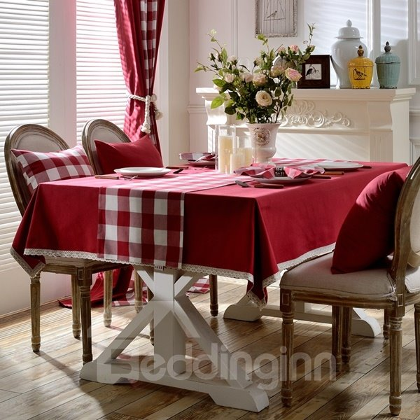 Red Rectangle Fabric Simple Style Washable Decorative Tablecloth